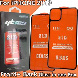 Передняя и задняя 21D Полное покрытие Полное Клей Закаленное стекло экрана протектор для iPhone 11 Pro Max iPhone11 обратно переднее стекло в одной коробке