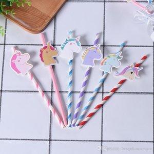 6 colori Unicorn carta Cannucce monouso Cannuccia Unicorn Cannucce articoli per la tavola dei bambini di compleanno Decorazione per feste BH1979 CY