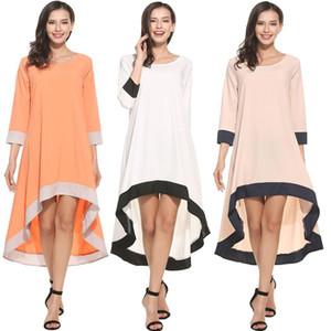 Womens Maxi più la maglietta allentata casuale irregolare cucitura Tre quarti Sleeve Dress