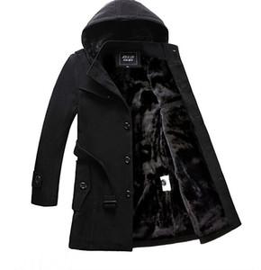 2019 nuova Mens inverno monopetto con cappuccio da uomo Cappotto addensare caldo velluto rivestimento lungo cappotto di lana