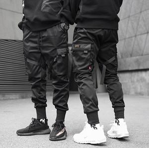 Erkekler Yan Cepler Hip Hop Patchwork Kargo Pantolon Moda Pantolon