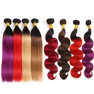 10A Бразильский Human Пучки волос с Closure Ombre Цвет волос Extensions 3Bundles с кружевом Закрытие T1B / Фиолетовый 99J Body Wave Straight Hair