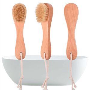 Brosses poils de sanglier visage Blaireau poignée en bois visage Brosse de nettoyage Soins de la peau Nettoyage Outils toilettes SuppliesT2I5758