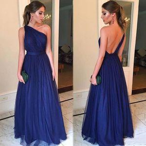 Sexy One Shoulder Backless Prom Dresses Long Simple A Line Summer Chiffon Evening Gowns Bridesmaid Dress Vestidos De Festa