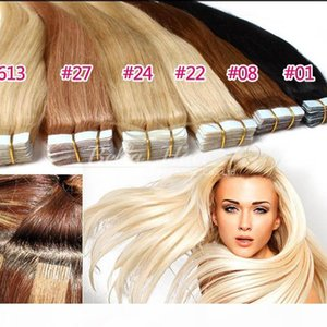 Grade 8A Brazilian Tape In Skin Hair Extensions Weft Straight Virgin Human Hair Extensions 2.5g pc,40pcs DHL free Shipping Bella Hair