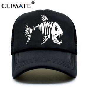 KLIMA Fishbone Trucker Cap Männer Fischen Skeleton Fischgräte Cap HipHop Baseballmütze Sommer Fisher Man Kult Caps Hut für Männer T200615