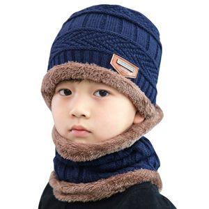 Kids Winter Hats Ears Girls Boys Children Warm Caps Scarf Set Baby Bonnet Enfant warm Knitted Cute Fashion Hat Two Piece Set