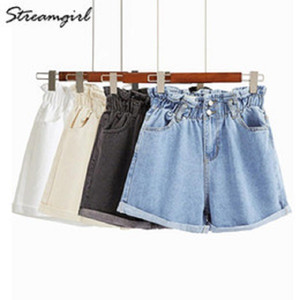 Shorts per le donne Denim jeans corti Donne Bianco elastico vita alta Denim shorts jeans Feminino delle donne di colore Estate