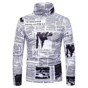 Shirt Camiseta Homens Spring e Plum-size de Nova Men Outono Impresso 3D Inglês Turtleneck manga longa T-shirt inferior