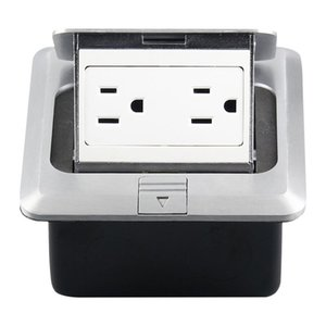 Hidden Pop-up Aluminum Alloy Computer Floor Socket with Cover Bottom Box, US Plug