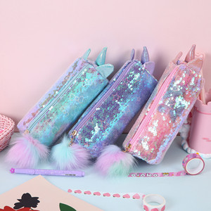 Kid Girl Unicorn Paillettes Paillettes Matita Borsa Studente Borse Studente Cartoon Bling Bing Bing Scatola di stoccaggio cosmetico Nuovo 2020 3 colori