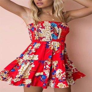 2018 novo Sweet Girls Mulheres Moda Sexy Floral Imprimir Alça ajustável feriado Boho praia Envolvido Partido Vestido Curto Verão