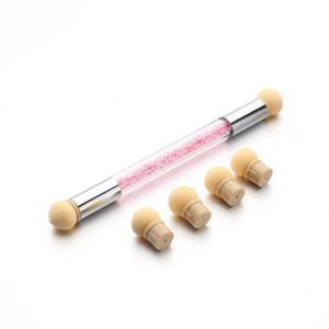 Nail Dotting Tools Set Glitter Powder Picking Dotting Gradient Pen Brush + 6 Sponge Nail Art Tools 17sep29