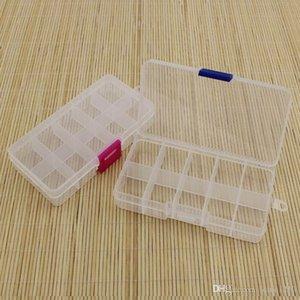 Atacado ajustável 10 Compartimento Plástico Limpar Caixa de armazenamento de jóias brinco Ferramenta Container Storage Bins
