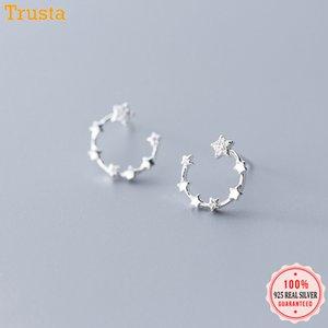 Trustdavis 100% 925 Sterling Genuine bonito Dazzling CZ lua brincos para mulheres Moda prata Sterling DA420 Jóias
