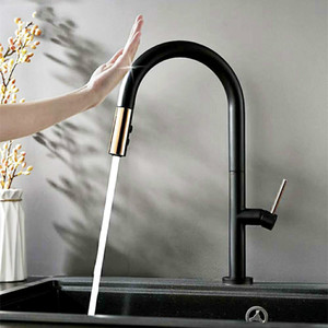 Matt Black Brass Smart Touch Sense Control Saque la cocina Faucet Sensitive Touch Control Faucet Mixer Grifo de agua