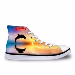 Customized 2019 Fashion Men Casual High Top Canvas Shoes Customized Designs Flat Vulcanized Shoes Male Autumn Lace-up Shoes