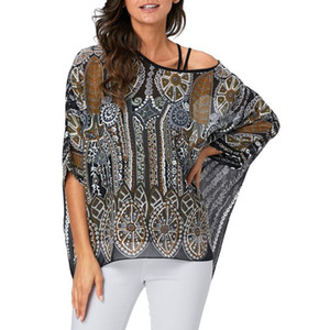 Feitong Women Sexy Hallow Out Camicette da donna manica lunga girocollo protezione camicetta Cover-Up maglie larghe blusas mujer 2019 Nuovo
