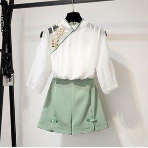 ICHOIX mulheres blusa bordados 2 pedaço definido topos elegantes e shorts jogo mola verão 2 pedaço trajes estilo chinês