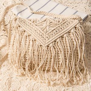 الحياكة النساء حقيبة بسيطة Tassel Crossbody Retro Shoulder Falp قطن الخيط المنسوجة Bag Summer Beach Bohemian Cute For Girls