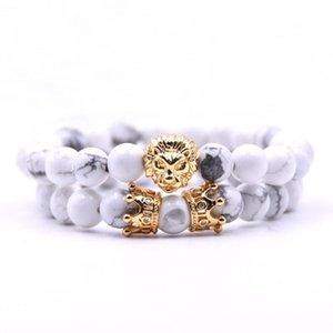 8mm lava de bolas de piedra de León encanto de la pulsera 2 piezas / juego Pareja de Buda hombres del brazalete partido de las mujeres de la vendimia de piedra natural joyería de las pulseras regalo