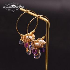 GLSEEVO التصميم الأصلي هوب أقراط للنساء 925 فضة بيرل المياه العذبة ملون الشرابة أقراط GE0904 CX200628