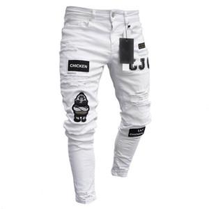 Erkek Hip Hop Pantolon Delik Pamuk Rozetler İnce Kalem Ayaklar Slim Fit Beyaz Mavi Nefes Rahat sıkıca oturan High End Jeans