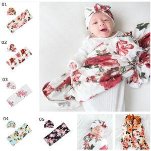INS bebê de gavetas Cobertores infantil Floral Imprimir Cobertores Turban Hat 2Pcs / Set Recém-nascido de gavetas Wraps Nursery fundamento do bebê Props fotográficos