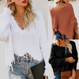 2019 New Fashion Loose Autumn Tops New Womens Ladies V-Neck Warm Sweaters Casual Sweater Jumper Tops Outwear