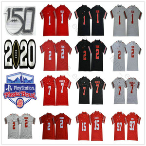 2020 NCAA Ohio State Buckeyes Justin Fields Jersey #1 OSU Playoff 2 Chase Young JK Dobbins Elliott Bosa Teague 150TH Fiesta Bowl Football