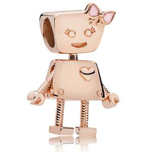 Joyería original 925 la plata del grano del encanto de oro rosa lindo Bella Cuentas robot Motor de búsqueda La pulsera apta DIY collar del brazalete