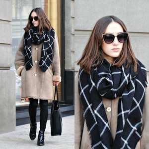 1PC 2020 195CM * 75CM New Lady Women Blanket black white Plaid Cozy Checked Tartan Scarf Wraps shawl T200407