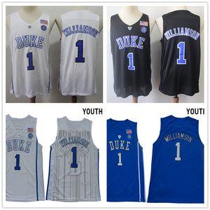 NCAA Duke Blue Devils # 1 Zion Jersey Williamson # 5 RJ Barrett Youth Blanc Noir Bleu College Basketball Maillots brodé surpiqué shirt