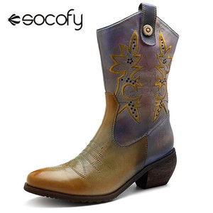 Socofy Retro Cowgirl Orta buzağı Çizmeler Kadın Ayakkabı Kadın Hakiki Deri Sivri Burun Sonbahar Kış Çizmeler Kadın Fermuar bayan Ayakkabıları