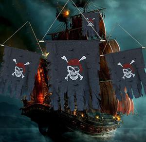 Shredded bandeira de pirata Halloween partido decorações adereços terror Santo bandeira bandeira casa Hunted Halloween quebrado cortina festiva fornecimentos Preto