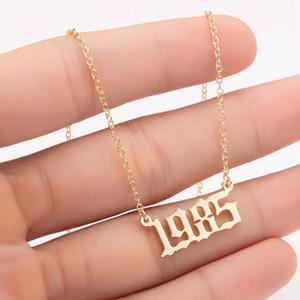 الميلاد الانجليزية القديمة عدد القلائد مخصص السنة قلادة عام 1980-2020 الخاصة القلائد سيدة مجوهرات المختنق حزب هدية LJJA3732
