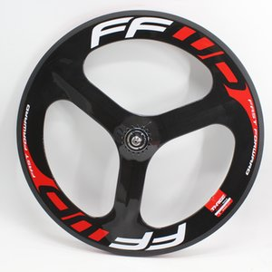 700C nuevo Red Fija bicicleta engranaje Vía Vía de fibra de carbono completa ruedas 3 radios de bicicleta Tri-hablaron juego de ruedas tubulares del carbón del remachador Bordes de la nave gratuito