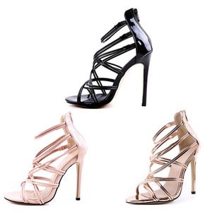 2019 zapatos de las mujeres zapatos de tacón mejores diseñador de la venta de pescado boca correa cruzada hueco del tacón alto de oro 11cm mujeres de las sandalias de color rosa negro tamaño grande 35-43