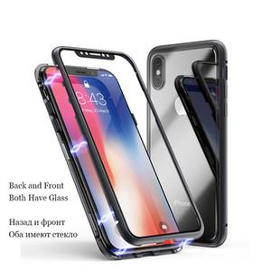 Dual Brille Magnetische Adsorption Metall-Handyhülle für iPhone Xs Max XR X 8 Plus Full Coverage Aluminiumlegierung Rahmen mit gehärtetem Glas