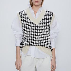 женщины 2020 мода негабаритного трикотажные жилет свитер V шеи без рукавов Хаундстут рыхлый женский жилет шикарные топы