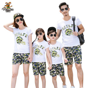 Plus Size Family Clothing 2020 New Summer Family Matching Outfits Father Boy Mother Daughter Cotton Shirts Shorts Pants set