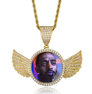 HIPHOP cross border copper hot style memory photo custom rounded wing photo frame solid pendant HIPHOP necklace