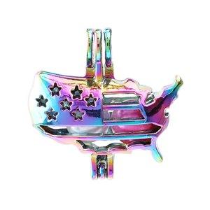 Радуга цвета американского флага Pearl Клетка Подвеска для Perfume Essential Making масло Аромат Диффузор Медальоны ожерелье