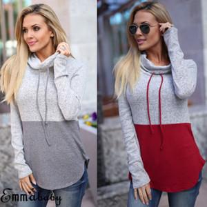 Caliente elegante del modelo nuevo de las mujeres de manga larga con capucha casual con capucha Jumper Escudo suéter Tops nueva