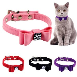 Lovely Bowknot Pet Collars Solid Adjustable Leopard Grain Neck Strap Puppy Kitten Cat Collar Necklace Pet Accessories Dog Collar