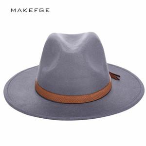 2016 Sonbahar Kış Güneş Kadın Erkek Fedora Şapka Klasik Geniş Ağız Disket Cloche Chapeau İmitasyon Yün Kap C19041701 Keçe