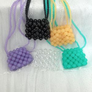 Mini Transparente Crystal Bead saco de corda trançada Coin Purse 2020 Pérola Bag batom pérola mulheres bolsa Sacos