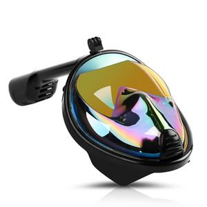 Máscara del salto adulto máscara completa en seco tubo respirador del salto de silicona Iris snorkel gafas anti niebla automática evitar que el agua Hombres Mujeres