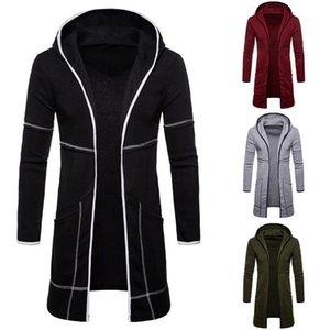 Männer Sweatshirt Schwarz-Kleid Hip Hop Mantel Hoodies Marke Fashion Herbst Street Lange vorne offen Mantel des Mannes Mantel-Jacke