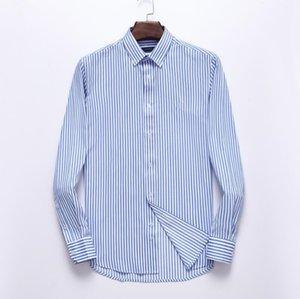 2020 الجديدة PG22322 الرجال مخطط طويل كم قميص رجل ثوب قميص الربيع الخريف العلامة التجارية مان أعلى عارضة ذكر قميص القمم الملابس